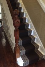 French polished staircase handrail and newel post